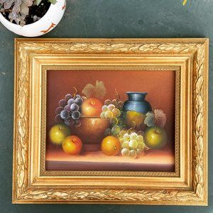 Vintage original still life fruit painting art